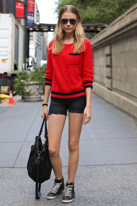 Models own clothes at new york