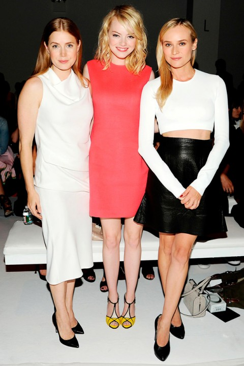 Amy Adams, Emma Stone and Diane Kruger at New York Fashion Week spring/summer 2013