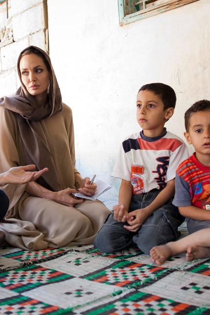 Angelina Jolie at Syrian refugee camp