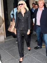 Gwen Stefani wearing double denim in Paris