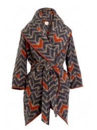 MW Matthew Williamson Blanket Cocoon Chevron Coat