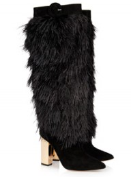 Nicholas Kirkwood rabbit-lined feather and suede boots