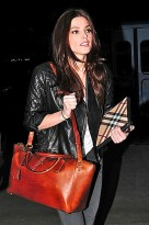 Ashley Greene wearing All Saints' Walker leather jacket