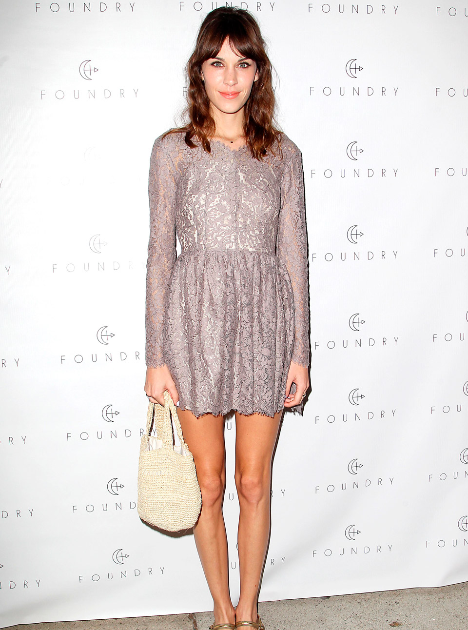 Alexa Chung is pretty in lilac lace at fashion store launch party in LA