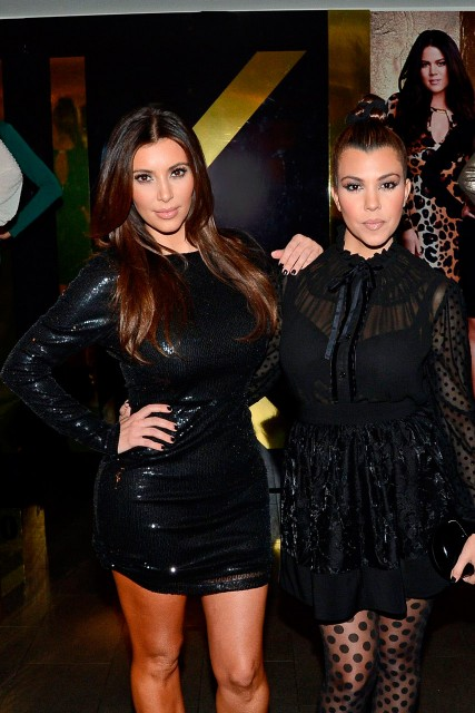 Kourtney and Kim Kardashian at Kardashian Kollection launch party