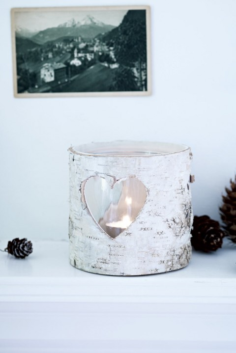 Christmas Decorations- Cox & Cox Birch heart tealight holder, £10.50