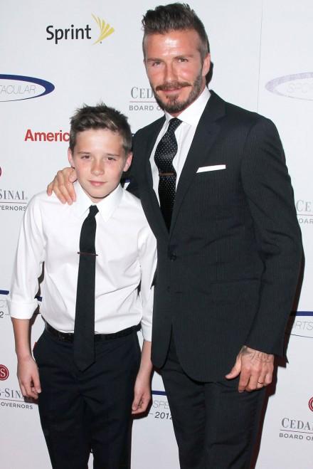 David Beckham tours top London school with son Brooklyn ...