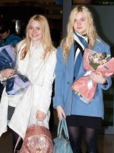 Dakota and Elle Fanning at Incheon International Airport, South Korea