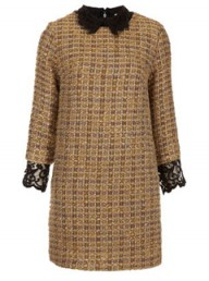 Topshop Boucle Lace Collar Shift Dress