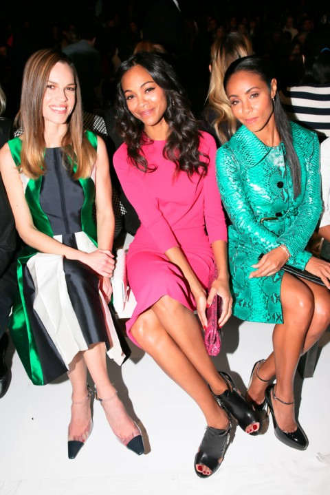 Hilary Swank, Zoe Saldana and Jada Pinkett Smith at Michael Kors at New York Fashion Week autumn/winter 2013
