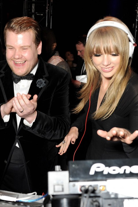 James Corden and Taylor Swift at the Brit Awards 2013 after-parties