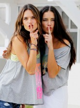 Alessandra Ambrosio and Adriana Lima at a Victoria's Secret photocall in LA