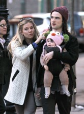 Sienna Miller, Tom Sturridge and baby Marlowe pictured in New York