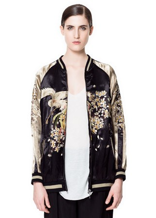Zara oriental bomber jacket, £119