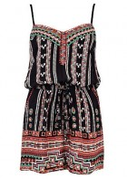 River Island Black Tribal Print Strappy Playsuit, �20 - Festival Essentials