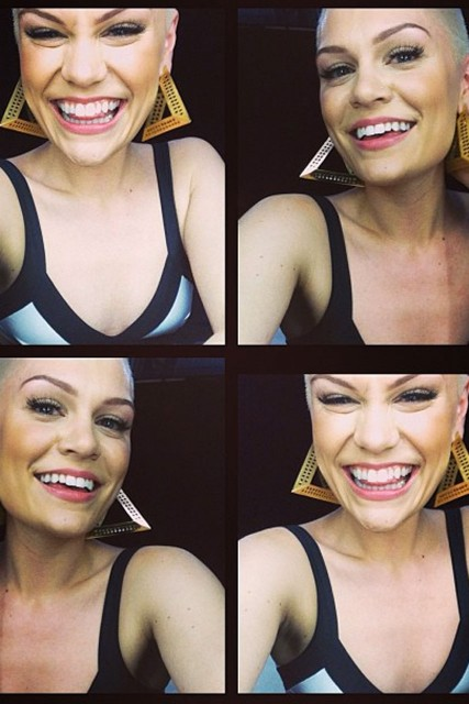 Jessie J Fashions Short Hairstyle With Pyramid Earrings For Latest
