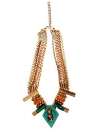 Outhouse Natural Turquoise And Gold Chain Necklace