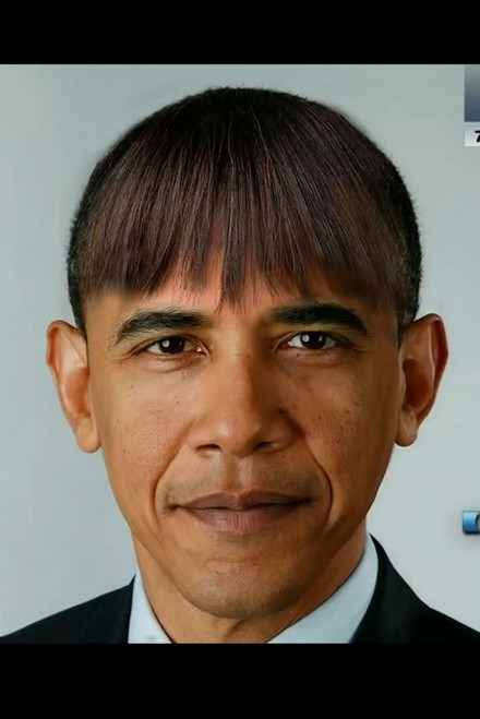 Barack obama wears wife michelle s fringe in spoof pictures marie