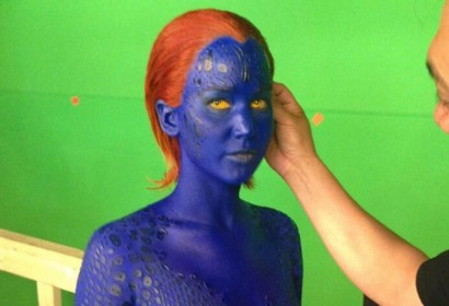 Jennifer Lawrence is painted in blue bodypaint for X-Men