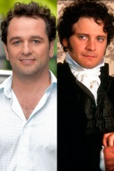 Matthew Rhys outside tv studios and Colin Firth in Pride & Prejudice