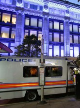 Police vans outside Selfridges following the raid