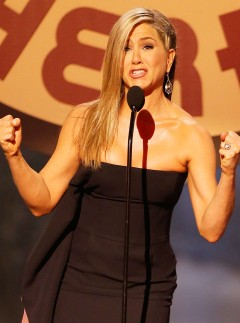 Jennifer Aniston on stage at the Guys Choice Awards