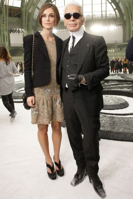 Keira Knightley and Karl Lagerfeld at Paris Fashion Week in 2010