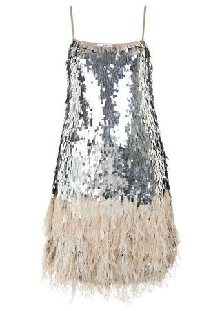 Miss Selfridge feather sequined dress, £195