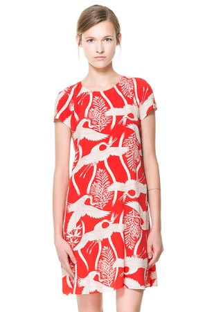 Zara bird print dress, £45.99