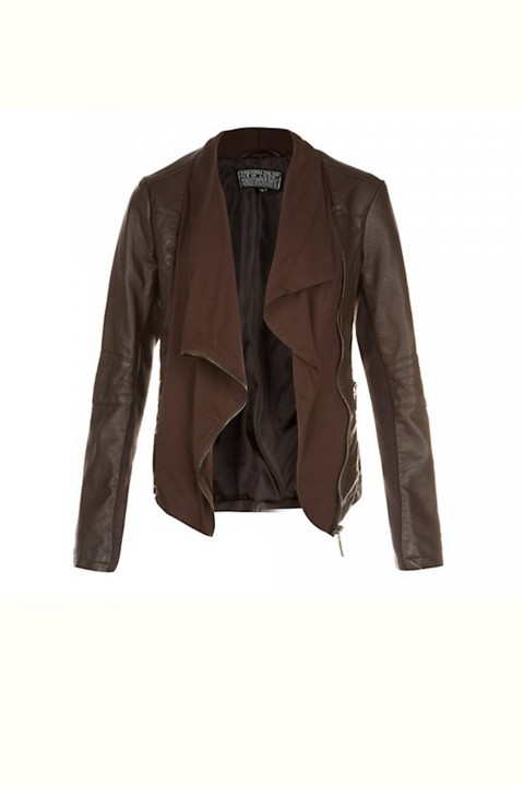 New Look Brown Jersey Front Waterfall Leather Look Jacket 39.99 Brown