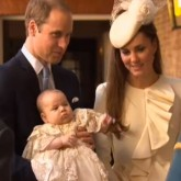 Kate Middleton and Prince William at Prince George's Christening