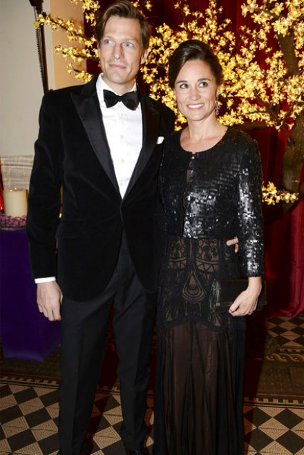 Pippa Middleton in a sheer black dress and boyfriend Nico Jackson at the Sugarplum Ball