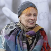 Vivienne Westwood at the Greenpeace protest at London's Southbank