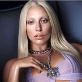 Lady Gaga wears a lilac gown after being announced as the new face of Versace
