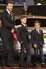 David Beckham hits the red carpet with Romeo and Cruz