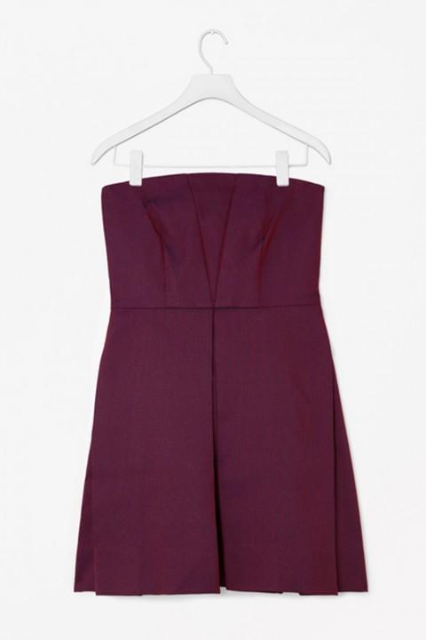 Cos Strapless Jacquard Dress