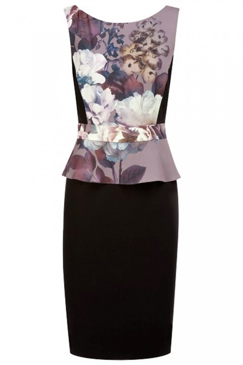 Kaliko Camelia Print Peplum Dress