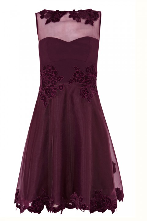 Karen Millen Velvet Applique Prom Dress