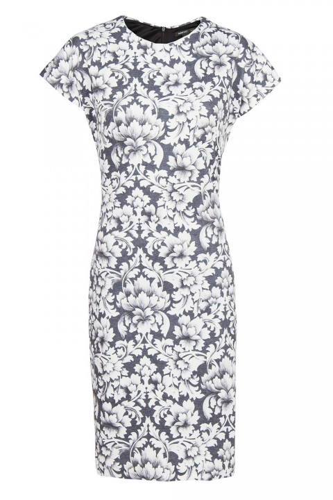 Mango Baroque Print Fitted Dress