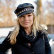 Kate Moss in a leather hat out in London