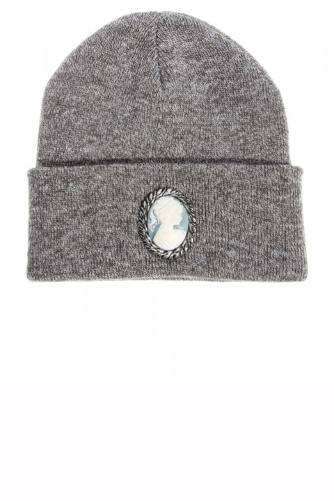 Silver Spoon grey beanie hat with embellishment