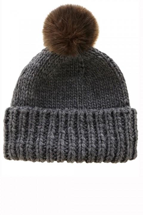 Warehouse faux fur pom pom hat