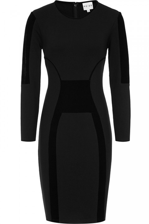 Reiss Tigre Velvet Detail Bodycon dress
