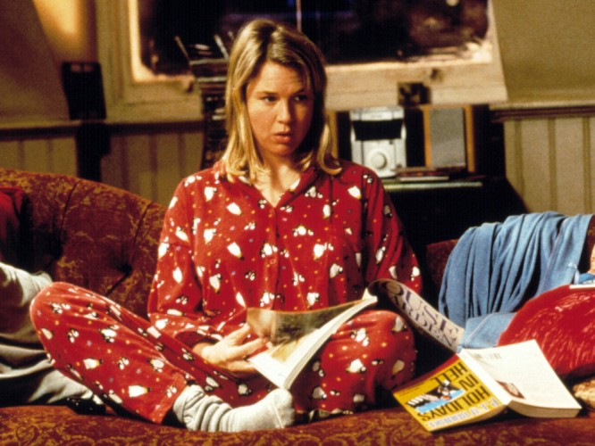 Bridget Jones Diary movie scene of Bridget on the sofa in her pyjamas