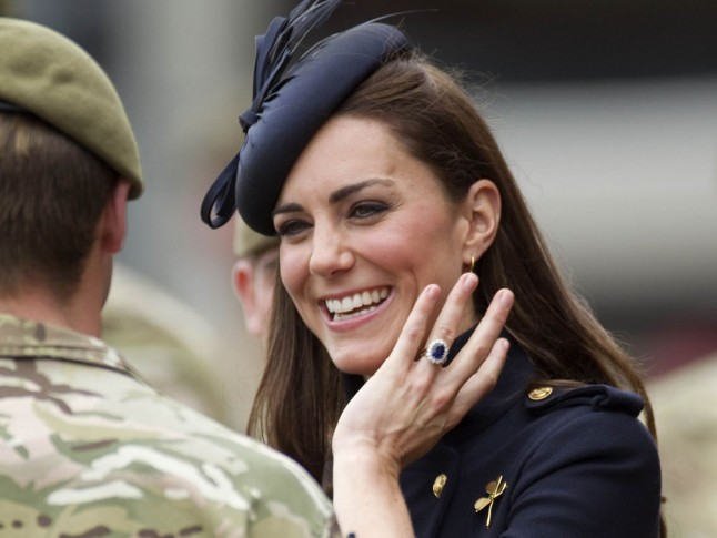 Kate Middleton shows off her engagement ring