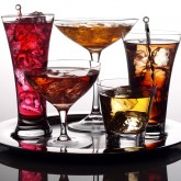 Selection of cocktails on silver plate