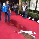 A water pipe burst ontot he red carpet last night, hours before the A-list arrivals