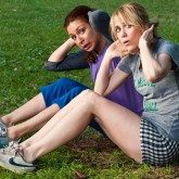 Kristen Wiig and Maya Rudolf exercising