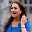 Kate Middleton wears a blue LK Bennett dress.