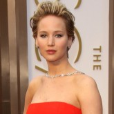 Jennifer Lawrence in a red Dior dress at The Oscars 2014